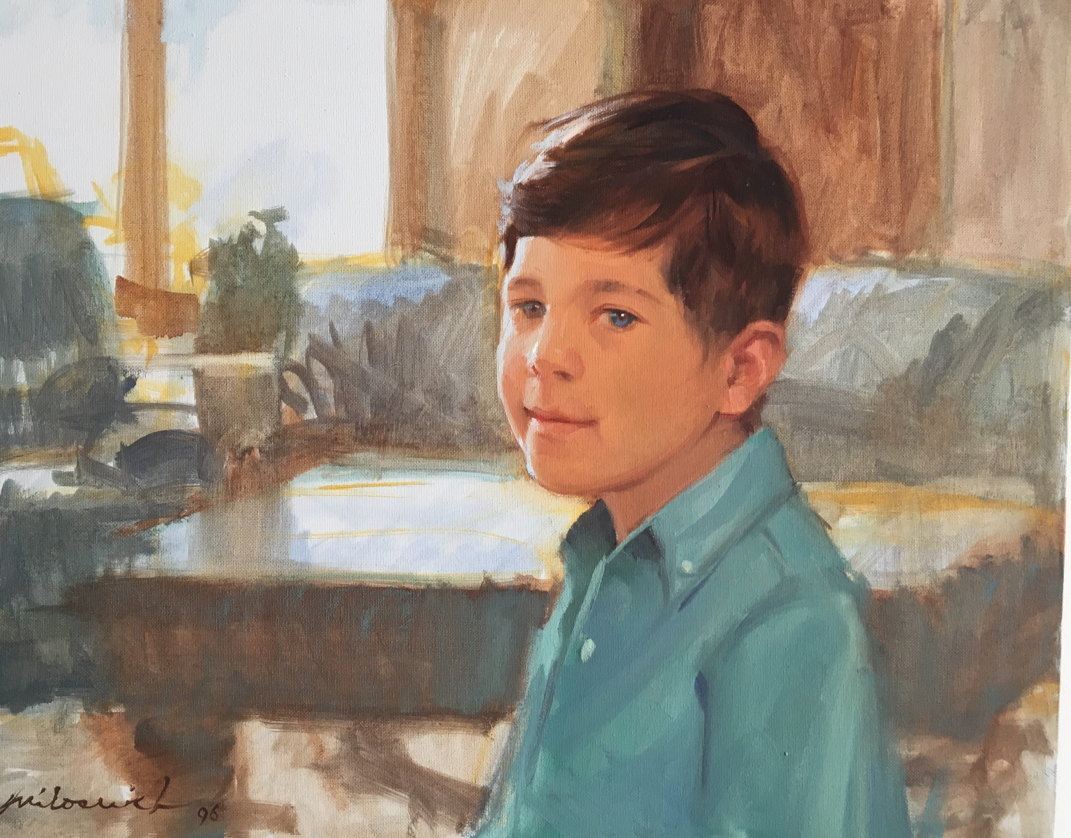 Boy in Turquoise Shirt - Portraits